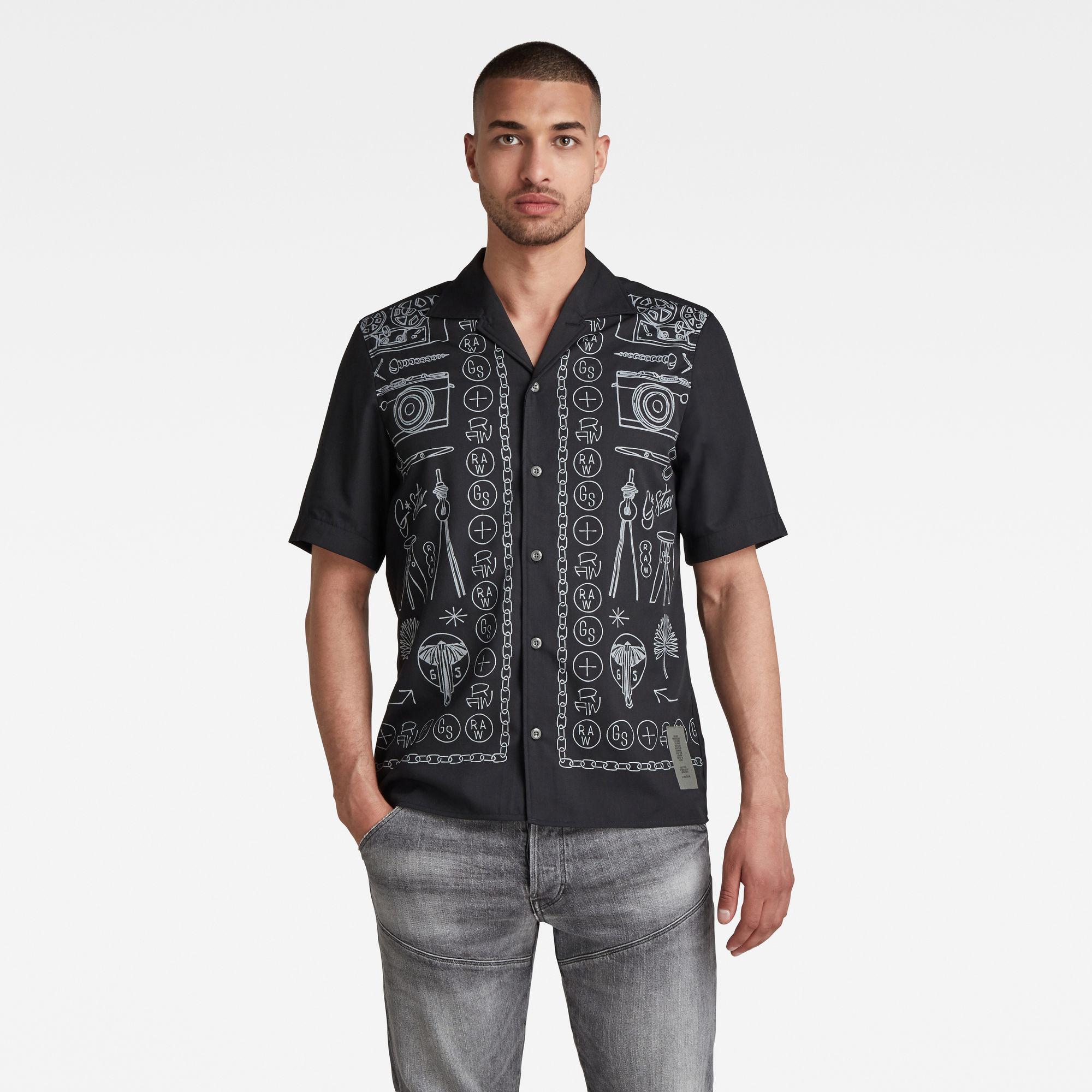 G-Star RAW Heren Hawaiian Service Regular Shirt Zwart