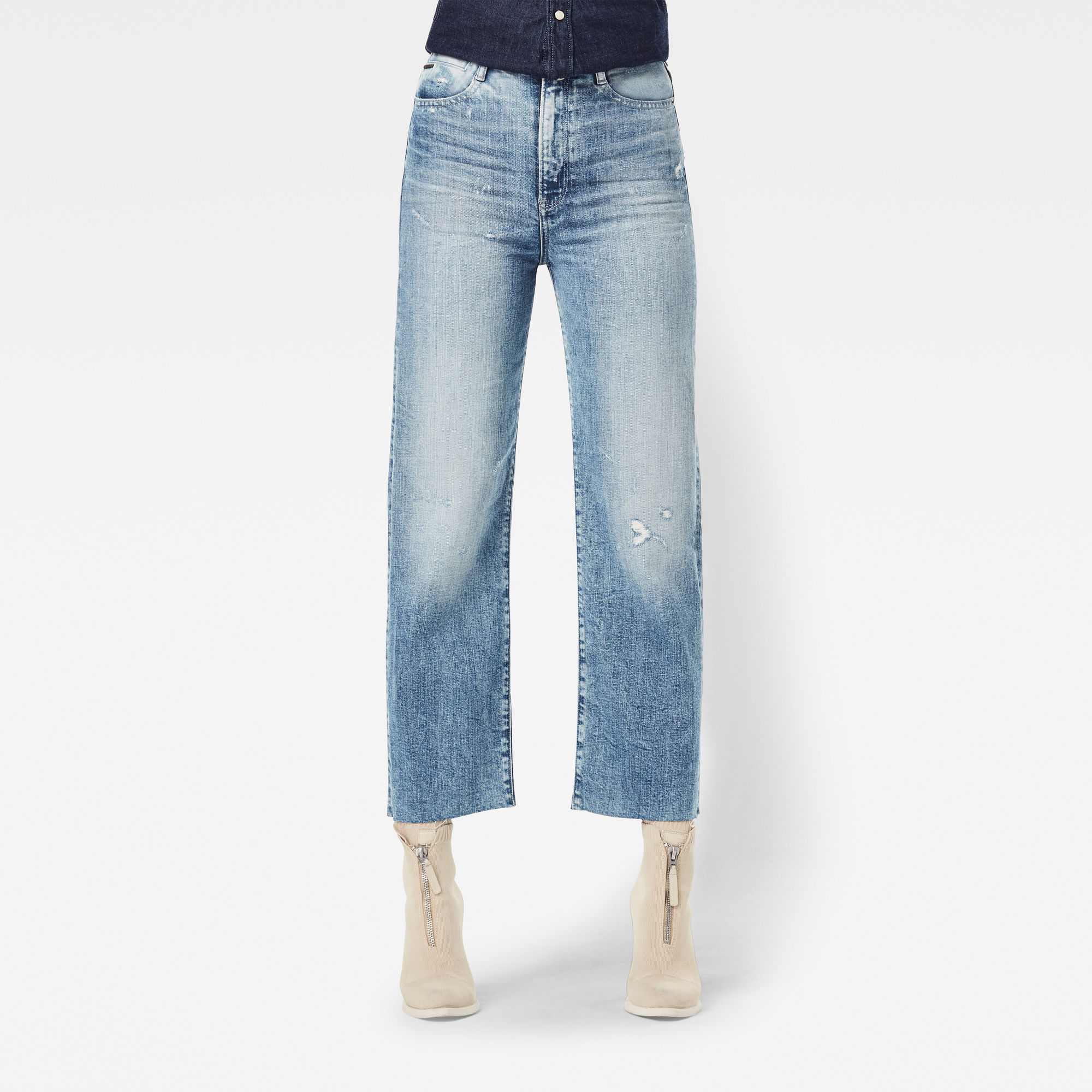 G-Star RAW Dames Tedie Ultra High Straight Ripped Edge Ankle Jeans Lichtblauw