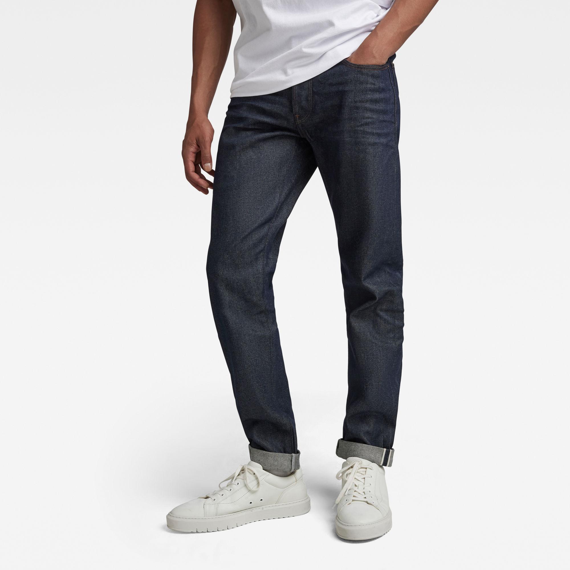 G-Star RAW Heren 3301 Slim Selvedge Jeans Donkerblauw