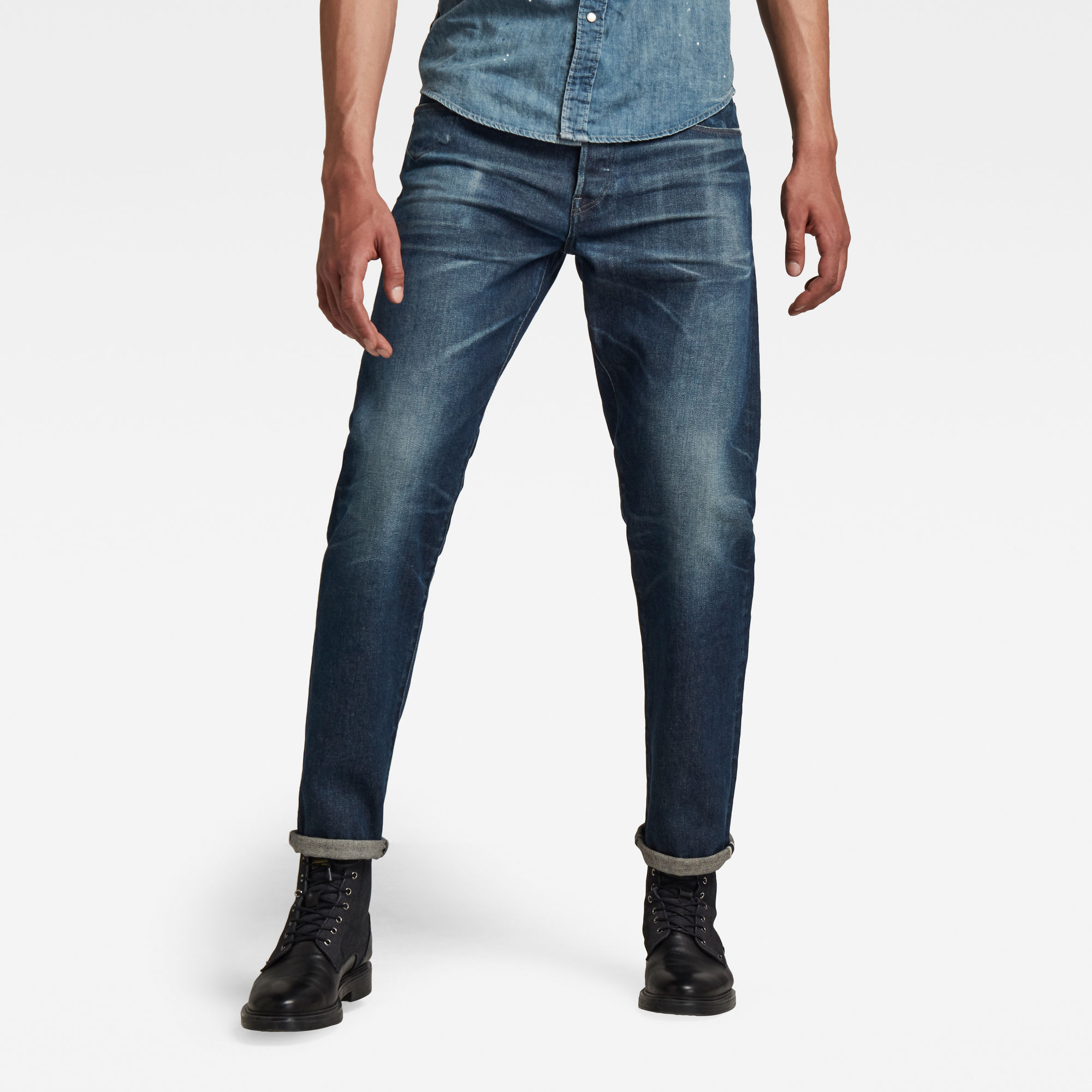G-Star RAW Heren Morry Relaxed Tapered Selvedge Jeans Donkerblauw