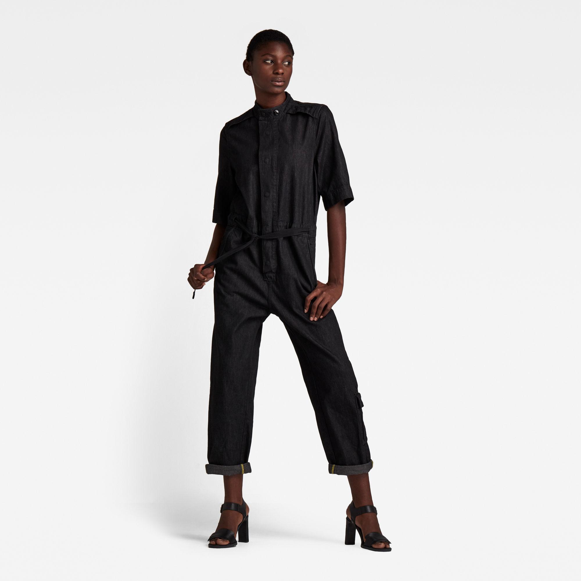 G-Star RAW Dames Short Sleeve Workwear Jumpsuit Zwart