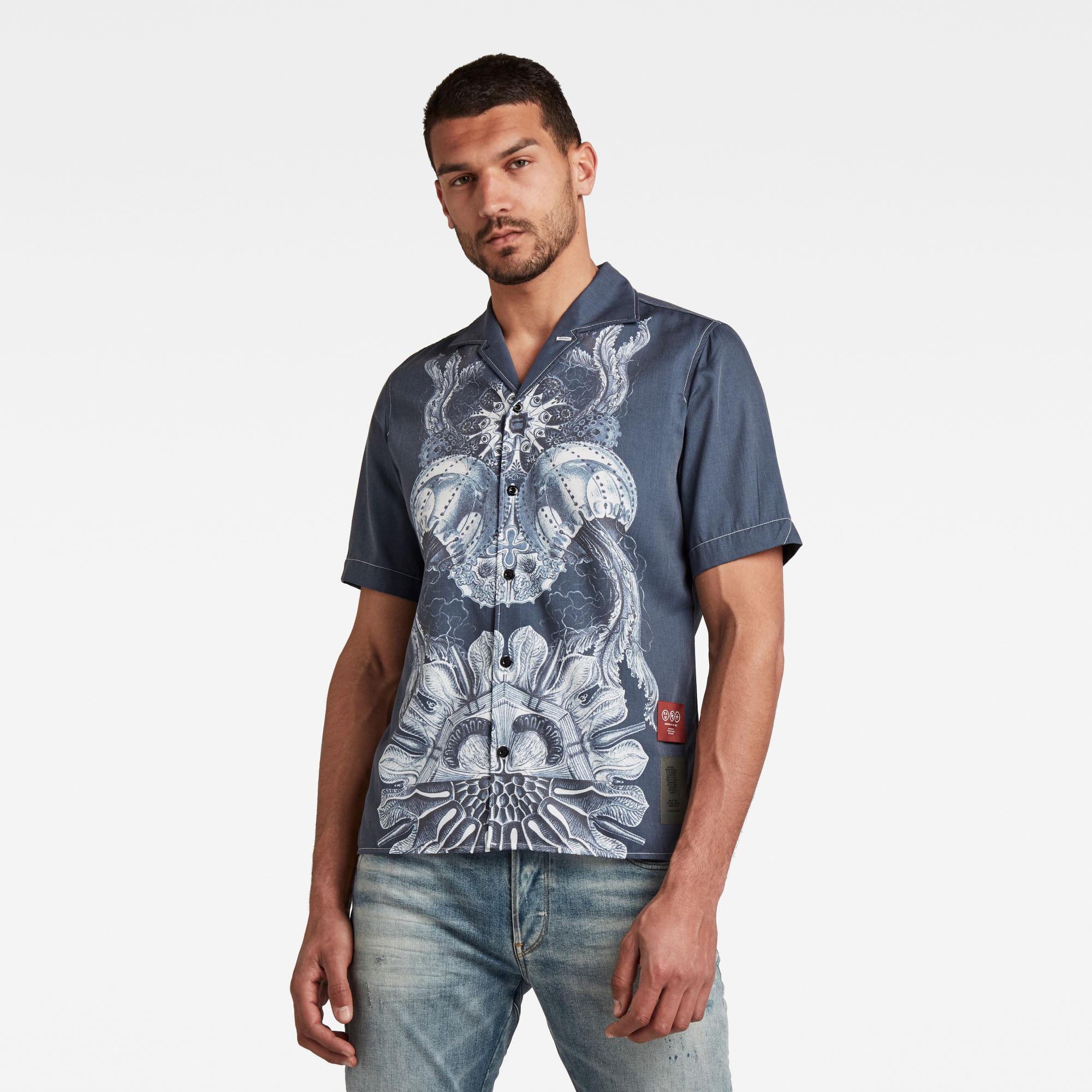 G-Star RAW Heren Hawaiian Service Regular Shirt Donkerblauw