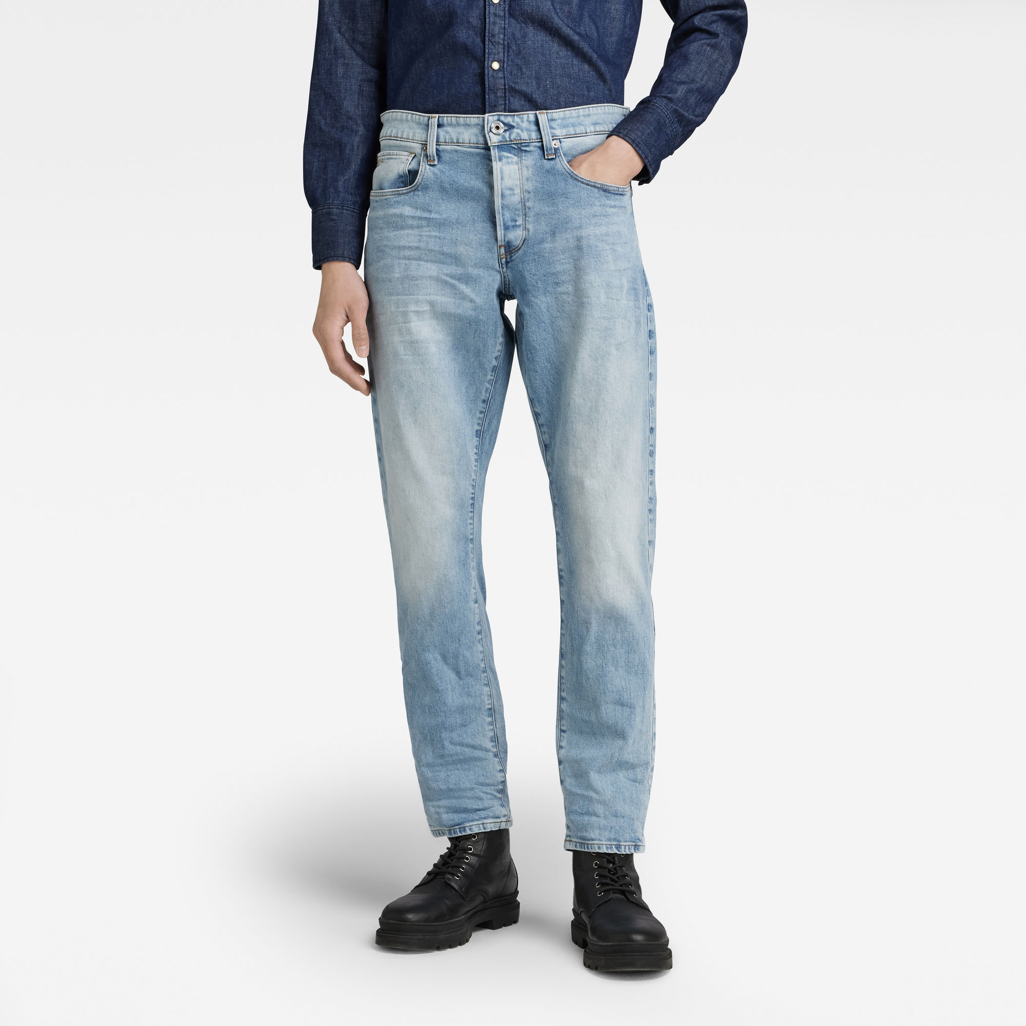 G-Star RAW Heren 3301 Regular Tapered Jeans Blauw