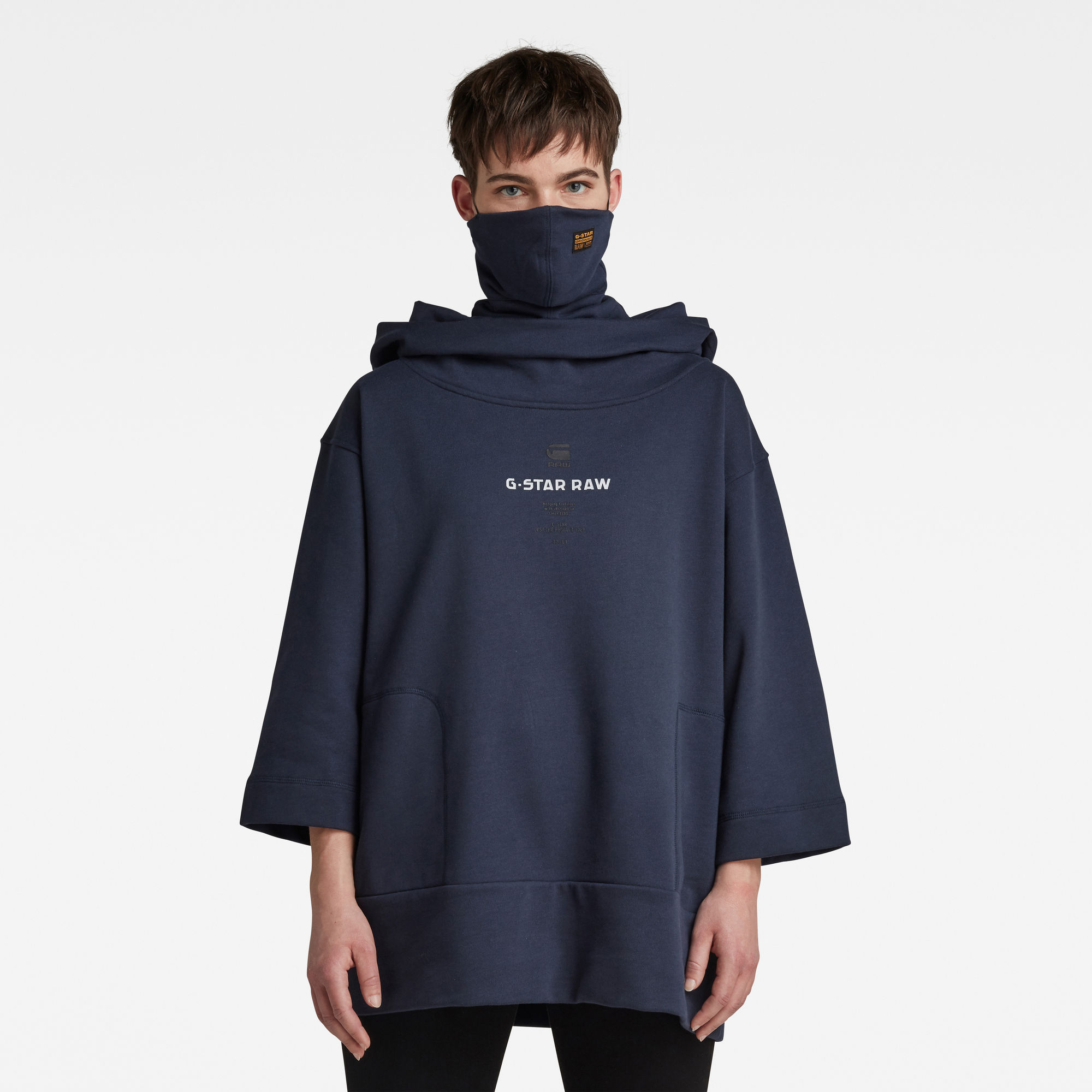 G-Star RAW Dames Oversized Hood Cover Sweater Donkerblauw