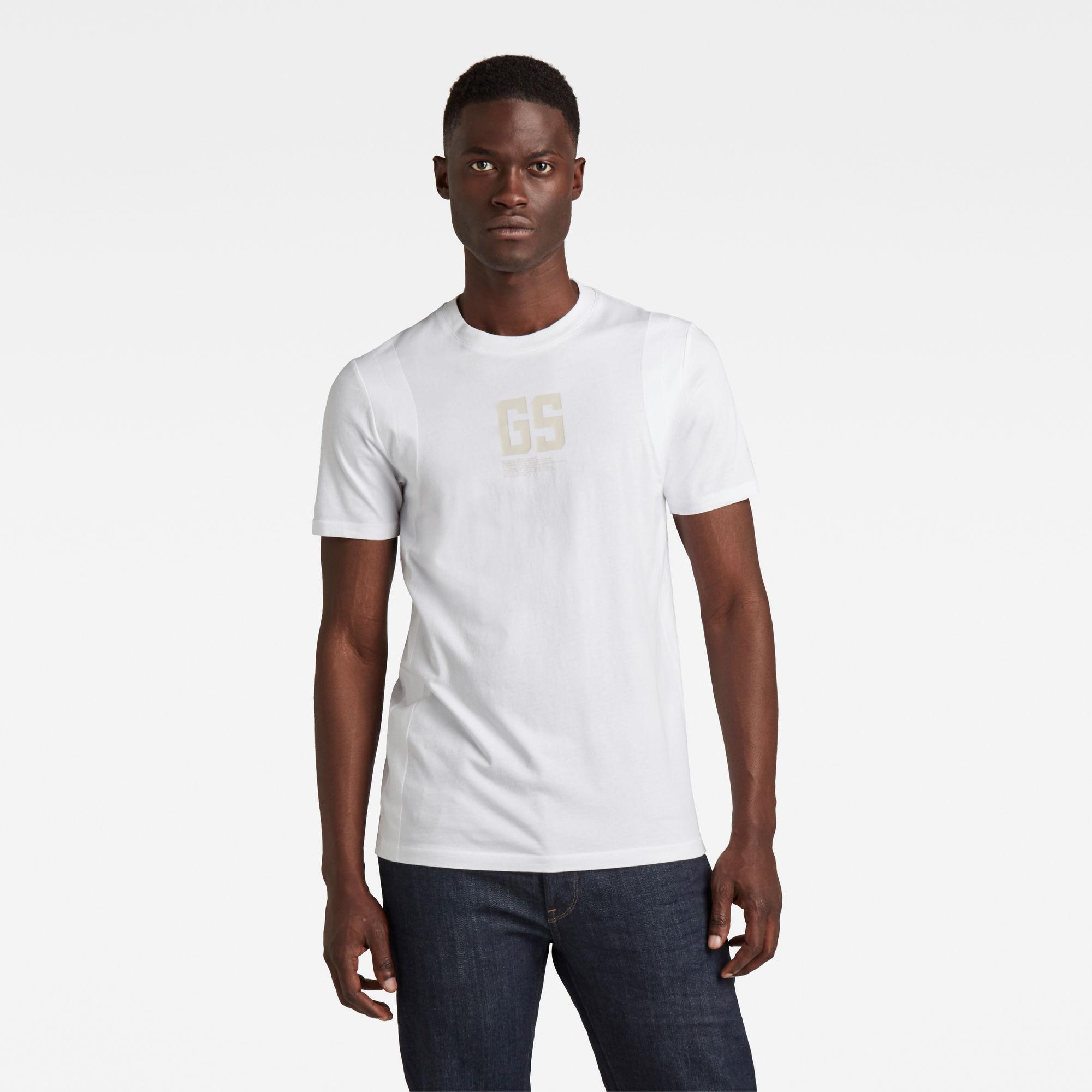 G-Star RAW Heren Stitch & Graphic Slim T-Shirt Wit