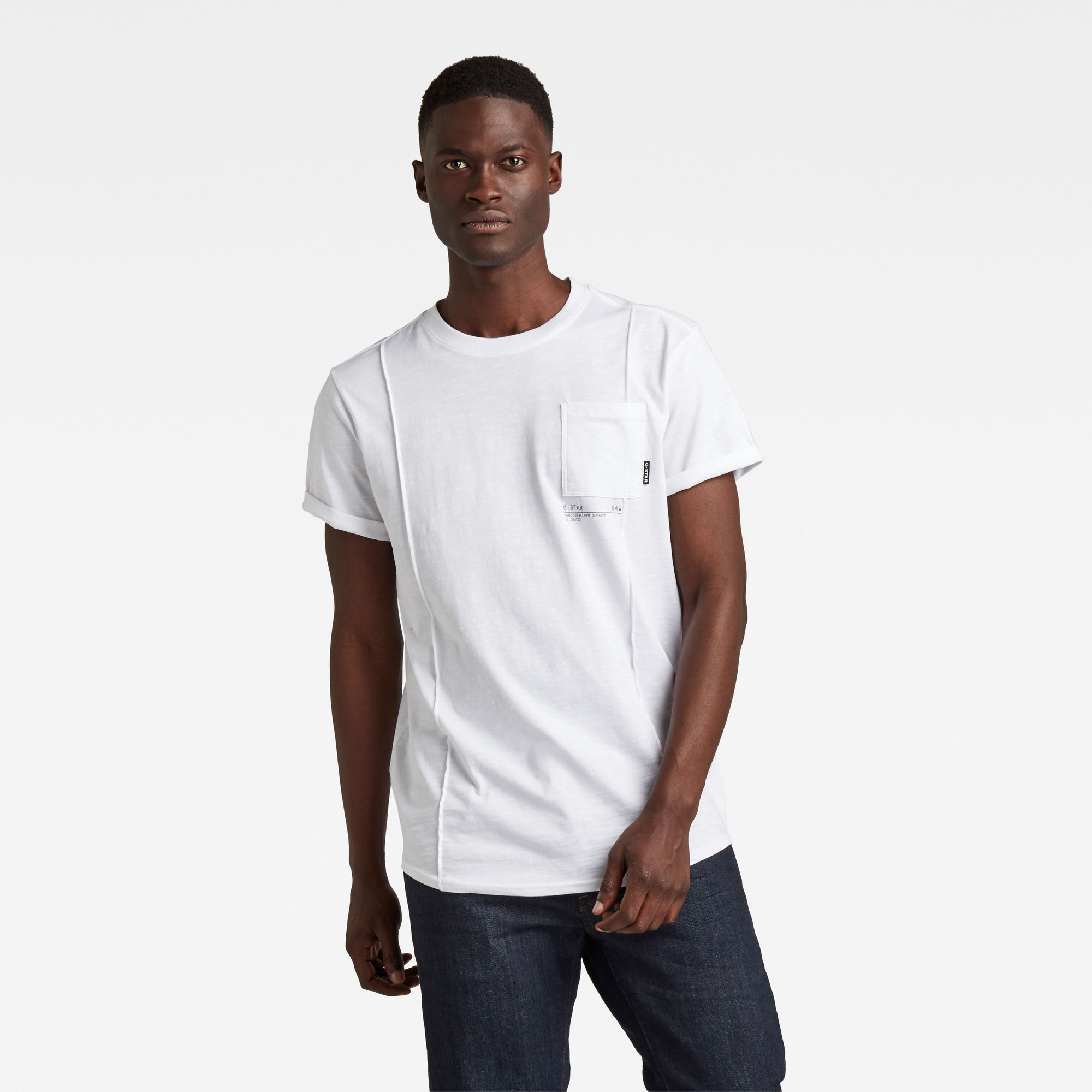 G-Star RAW Heren Lash Pocket Back Graphic T-Shirt Wit