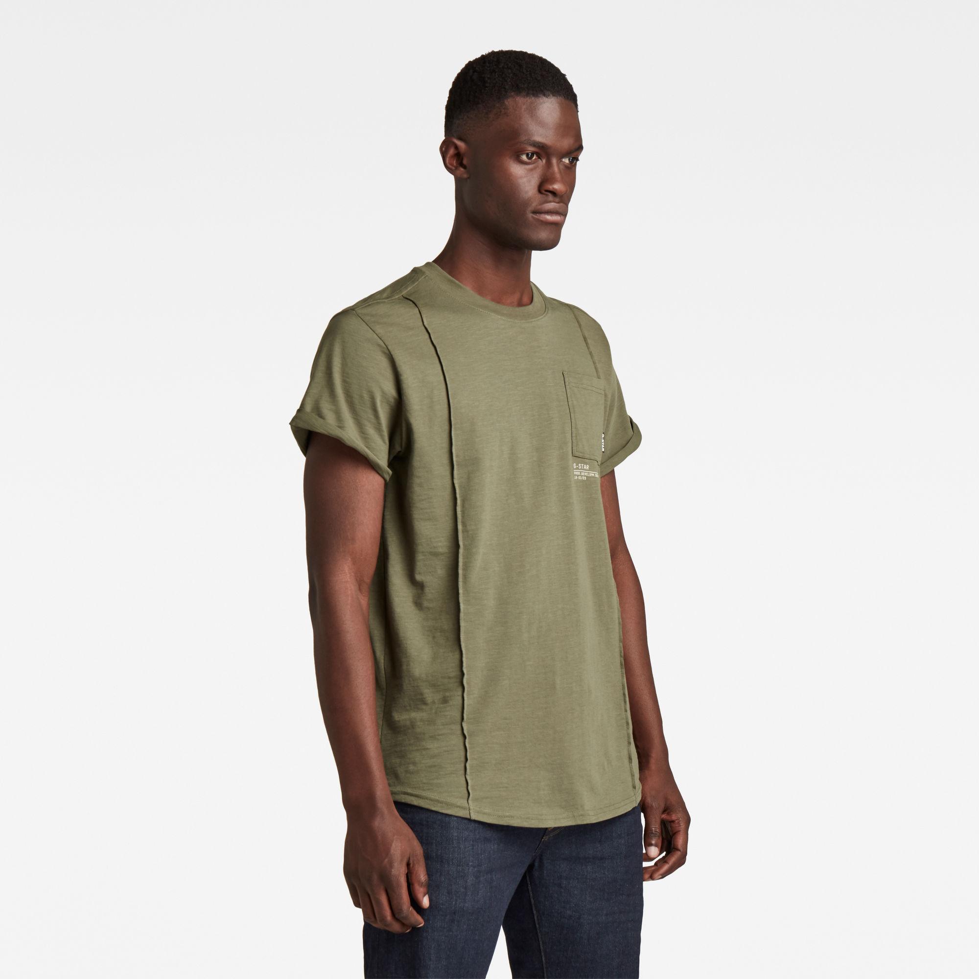 G-Star RAW Heren Lash Pocket Back Graphic T-Shirt Groen