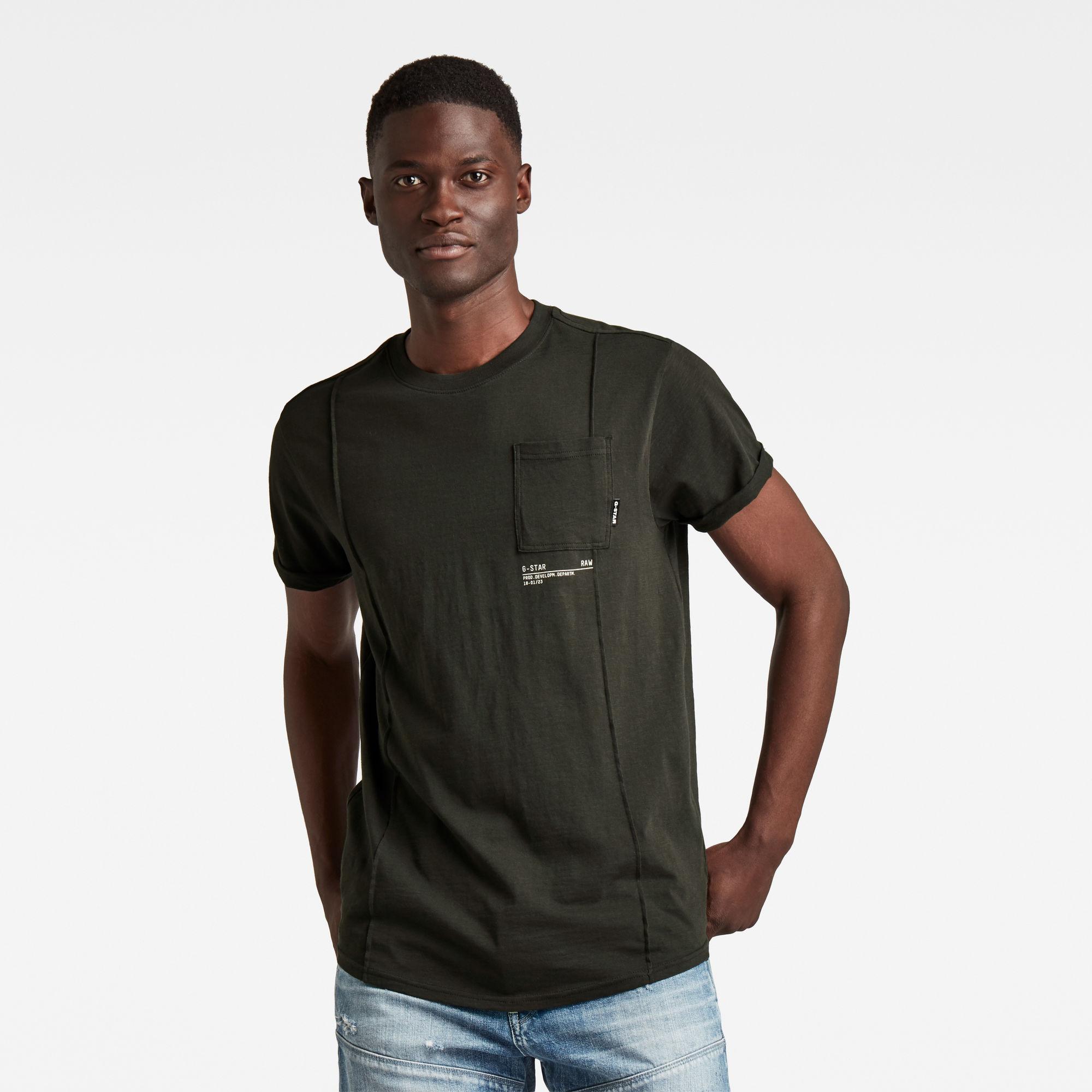 G-Star RAW Heren Lash Pocket Back Graphic T-Shirt Grijs