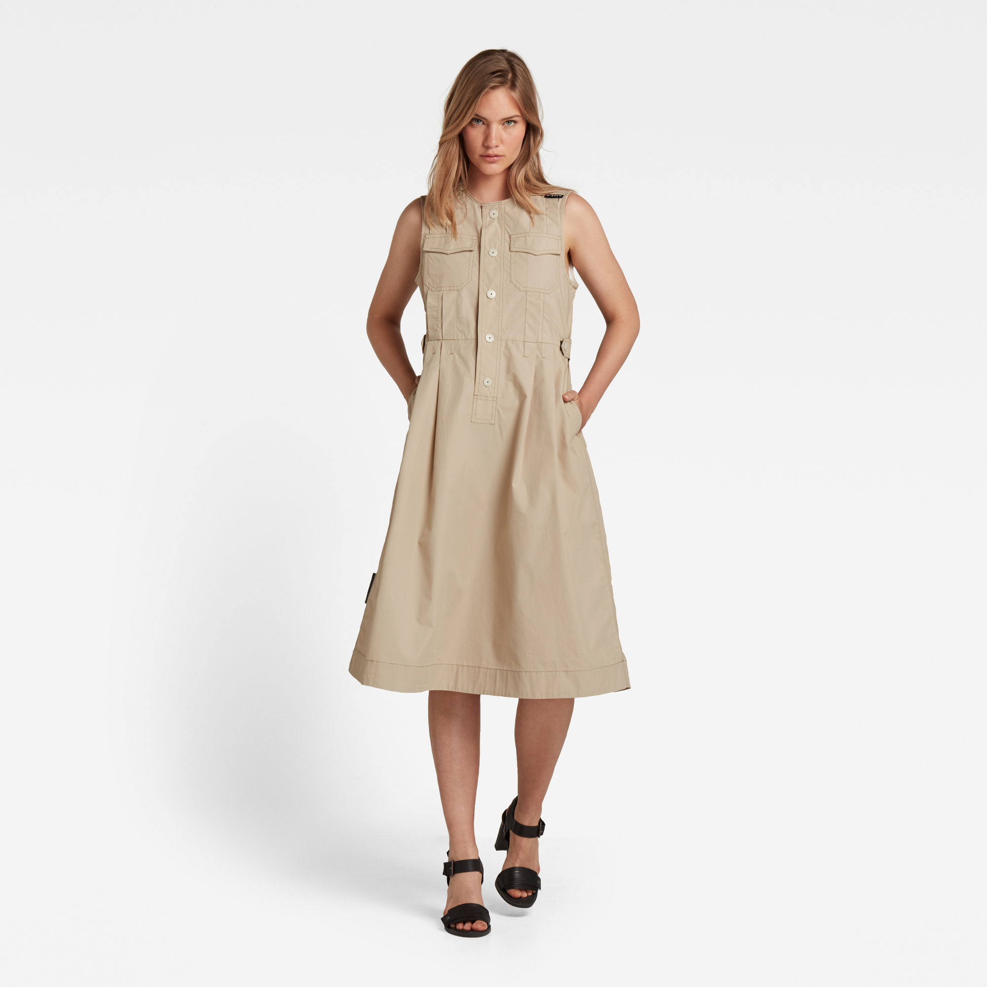 G-Star RAW Dames Jurk Fit And Flare Beige