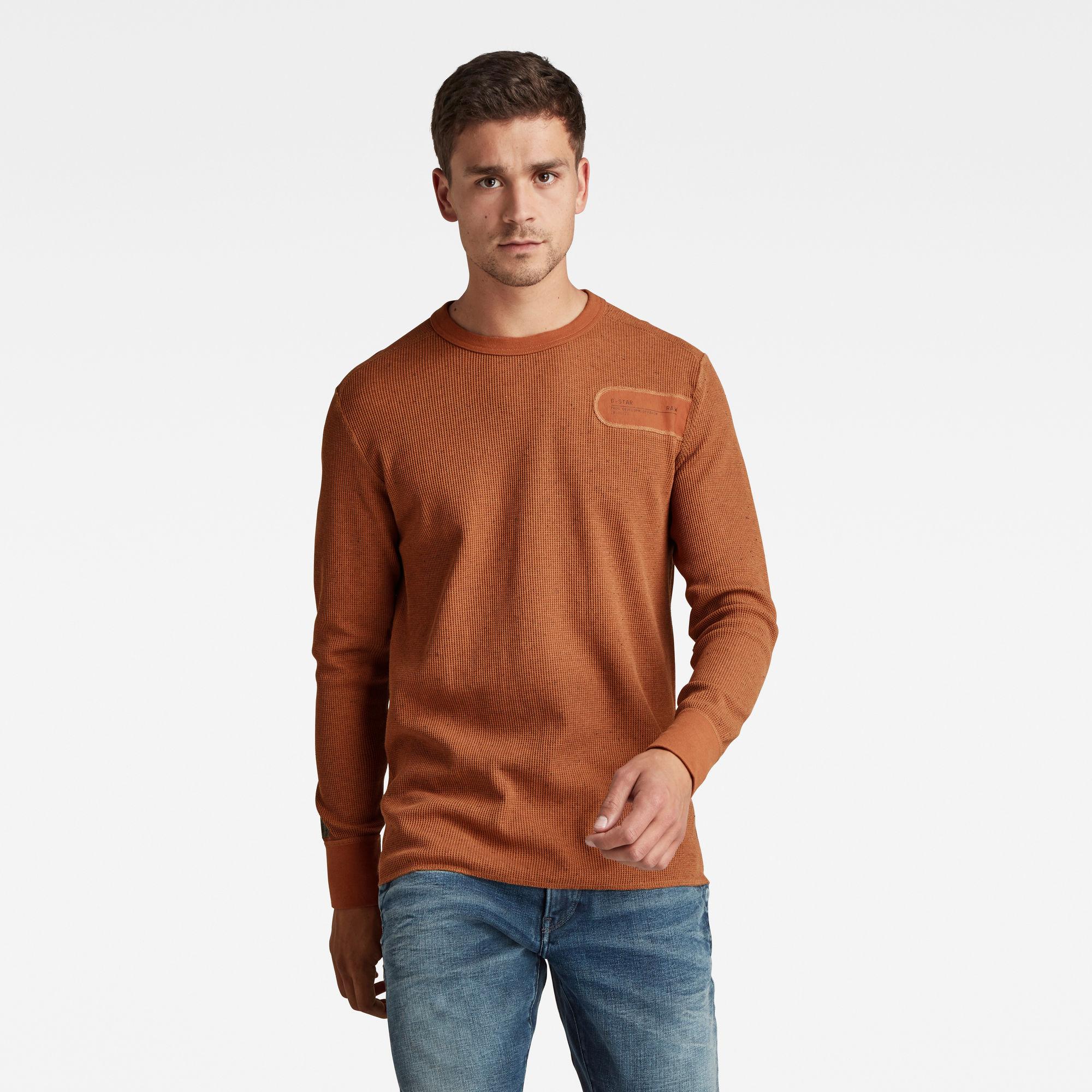 G-Star RAW Heren Heather Waffle Raw Construction T-Shirt Oranje