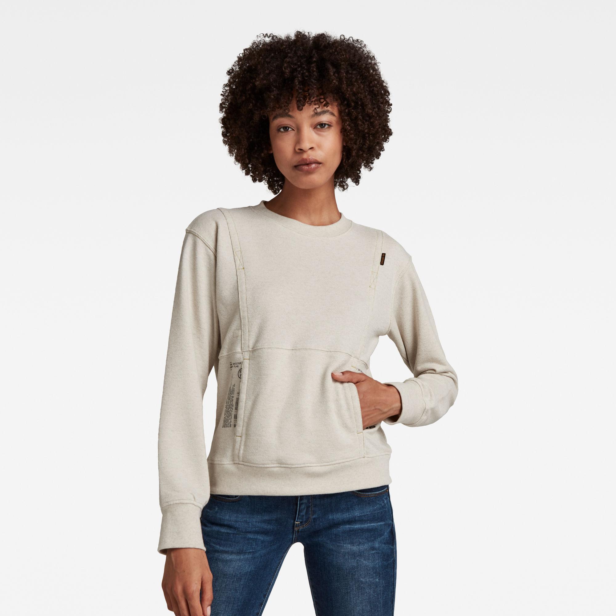 G-Star RAW Dames Graphic Pocket Tweater Beige