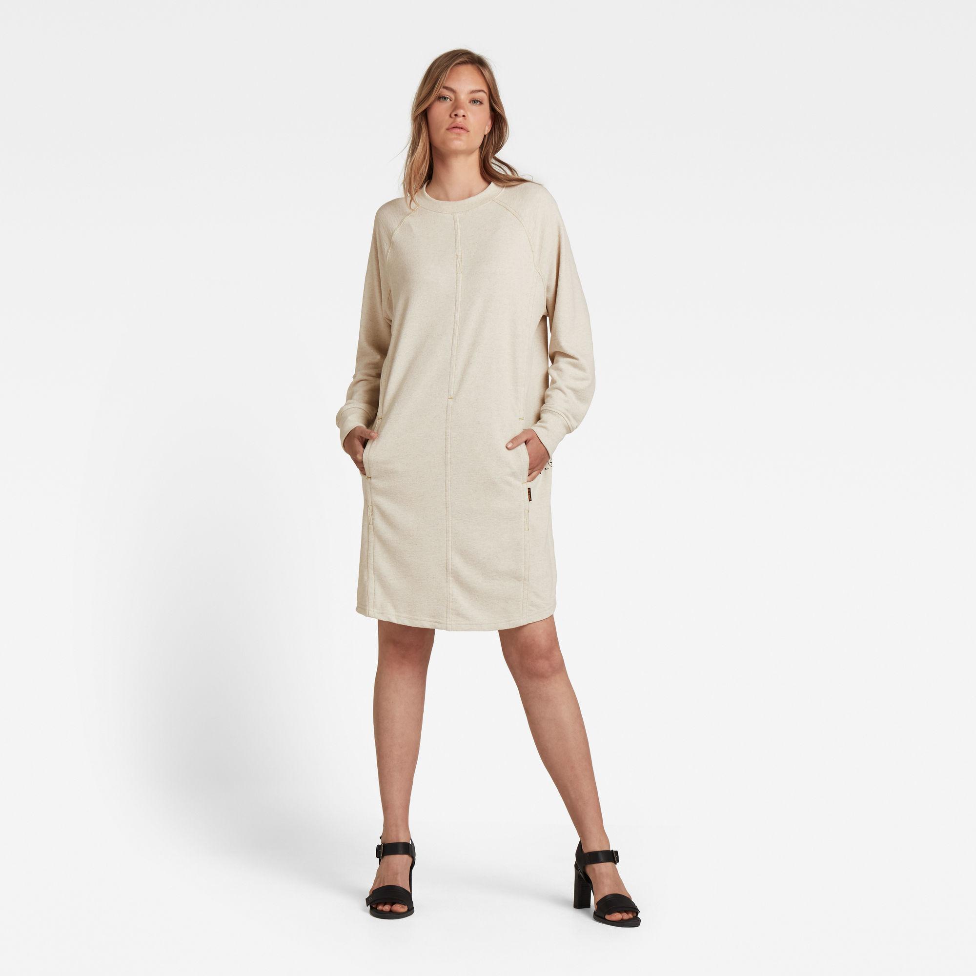 G-Star RAW Dames Tweater Jurk Graphic Pocket Beige