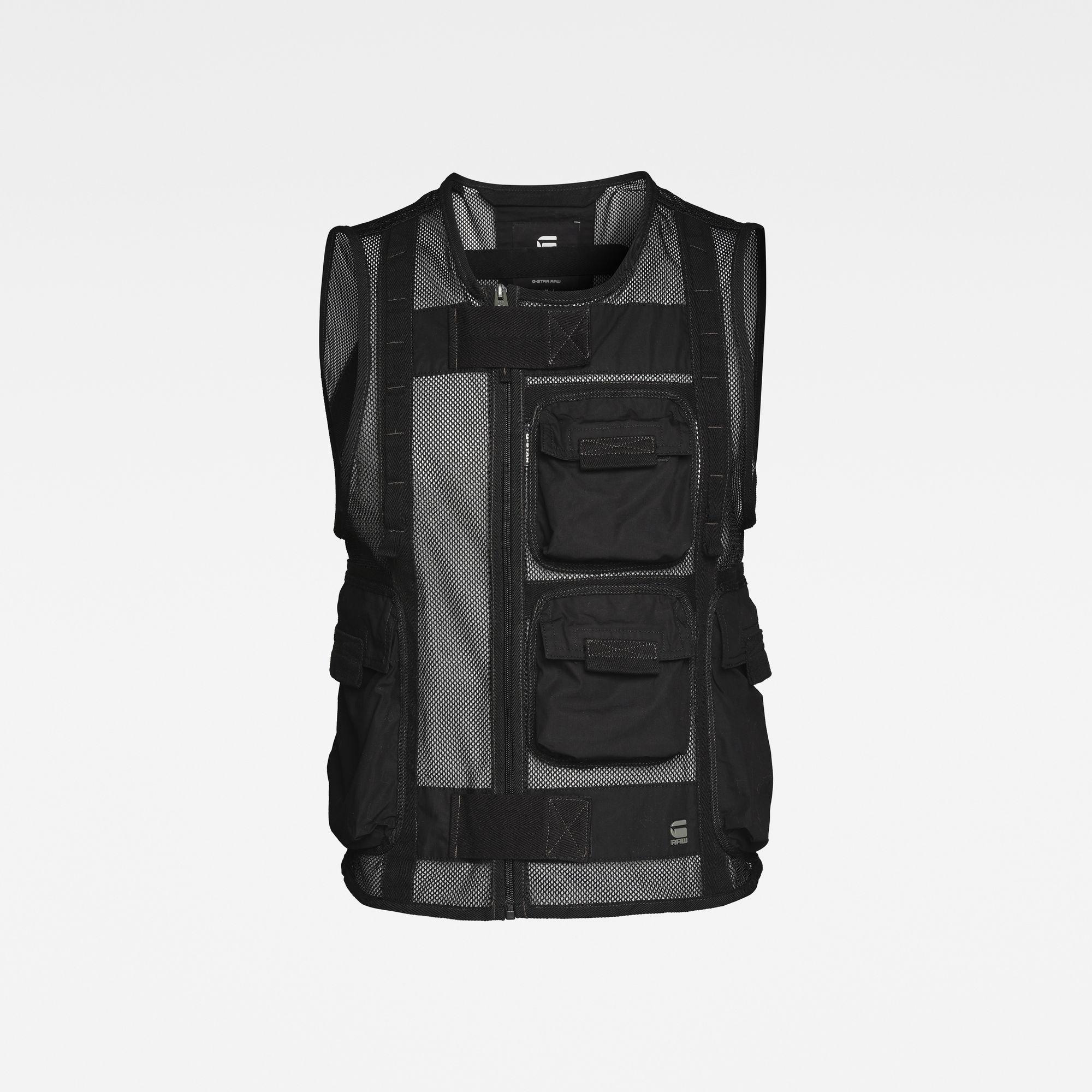 G-Star RAW Heren E Utility Mesh Vest Zwart