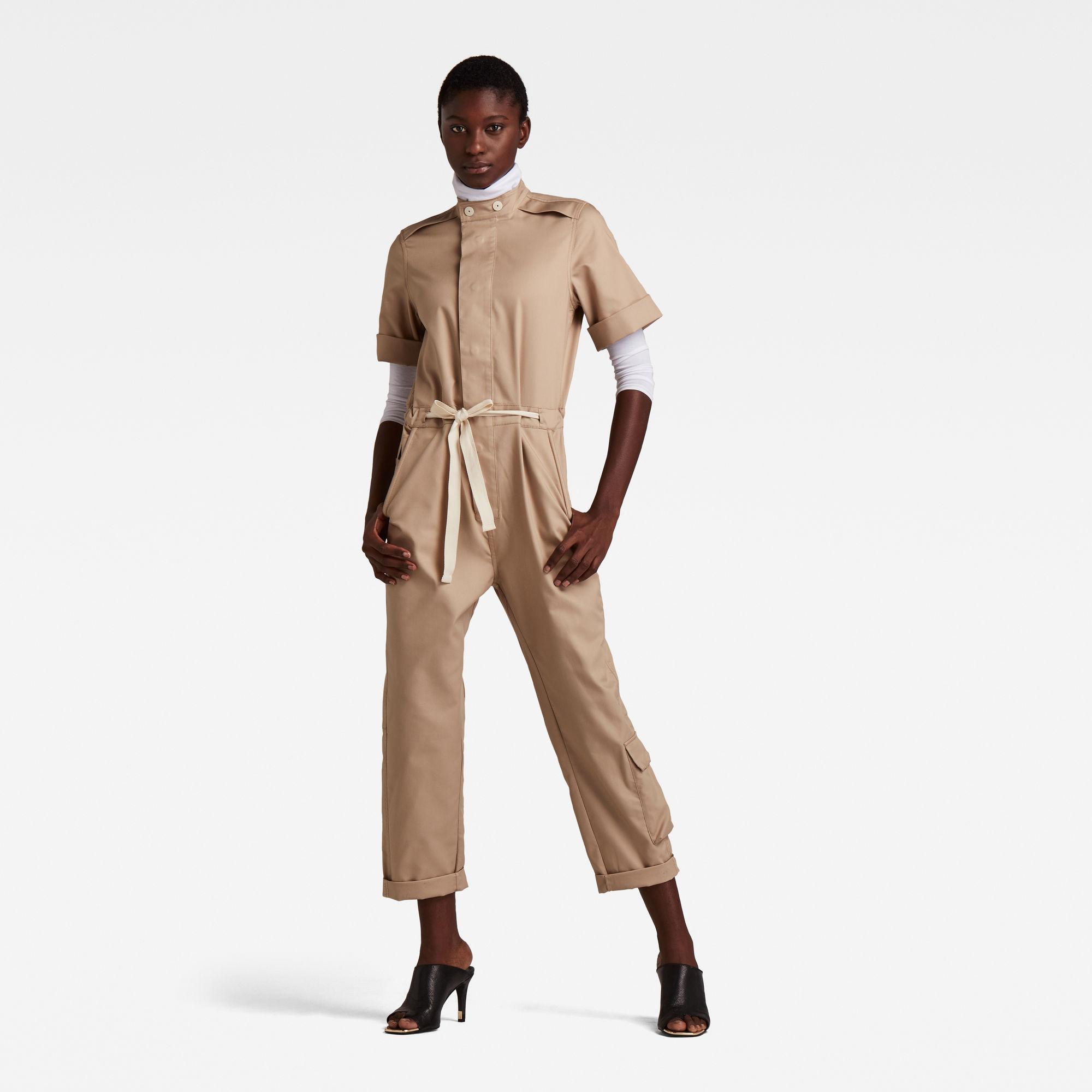 G-Star RAW Dames Short Sleeve Workwear Jumpsuit Beige