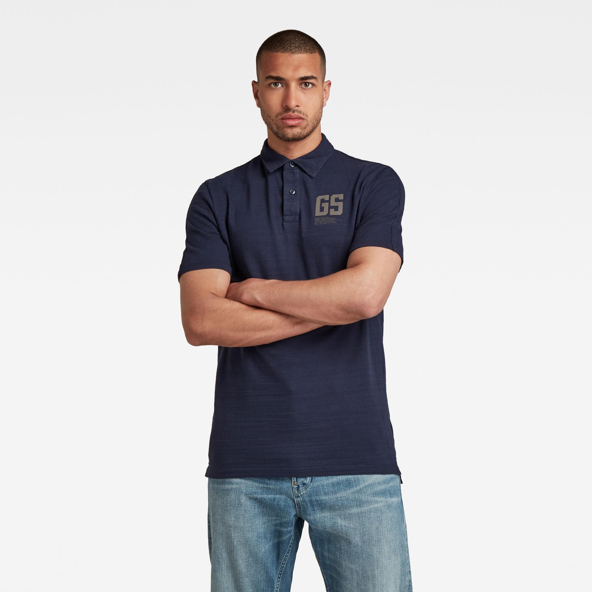 G-Star RAW Heren Stitch & Graphic Polo Donkerblauw