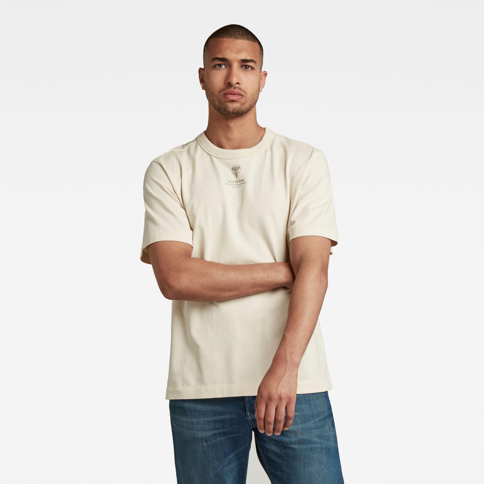 G-Star RAW Heren Back Logo Loose T-Shirt Beige