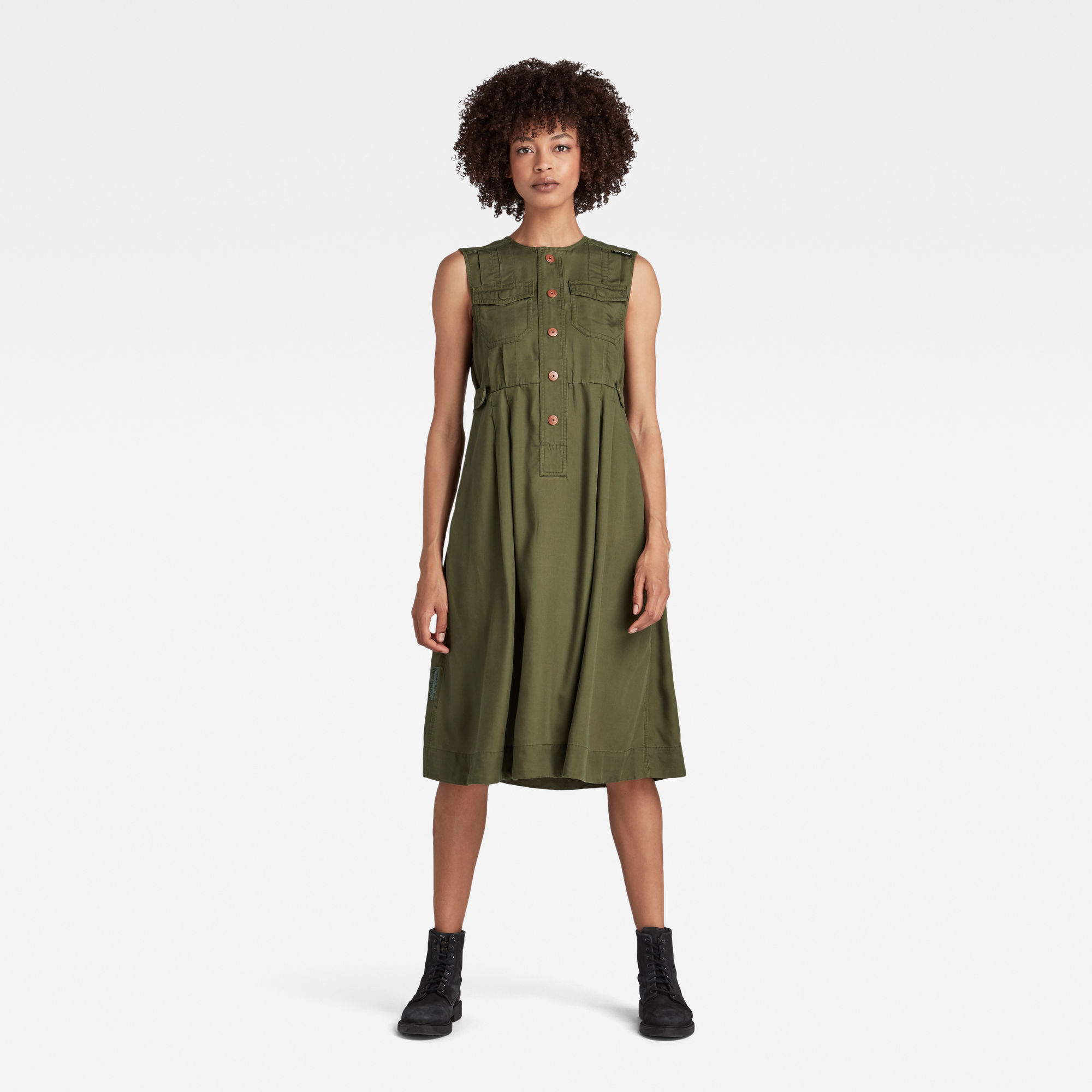 G-Star RAW Dames Fit And Flare Jurk Groen