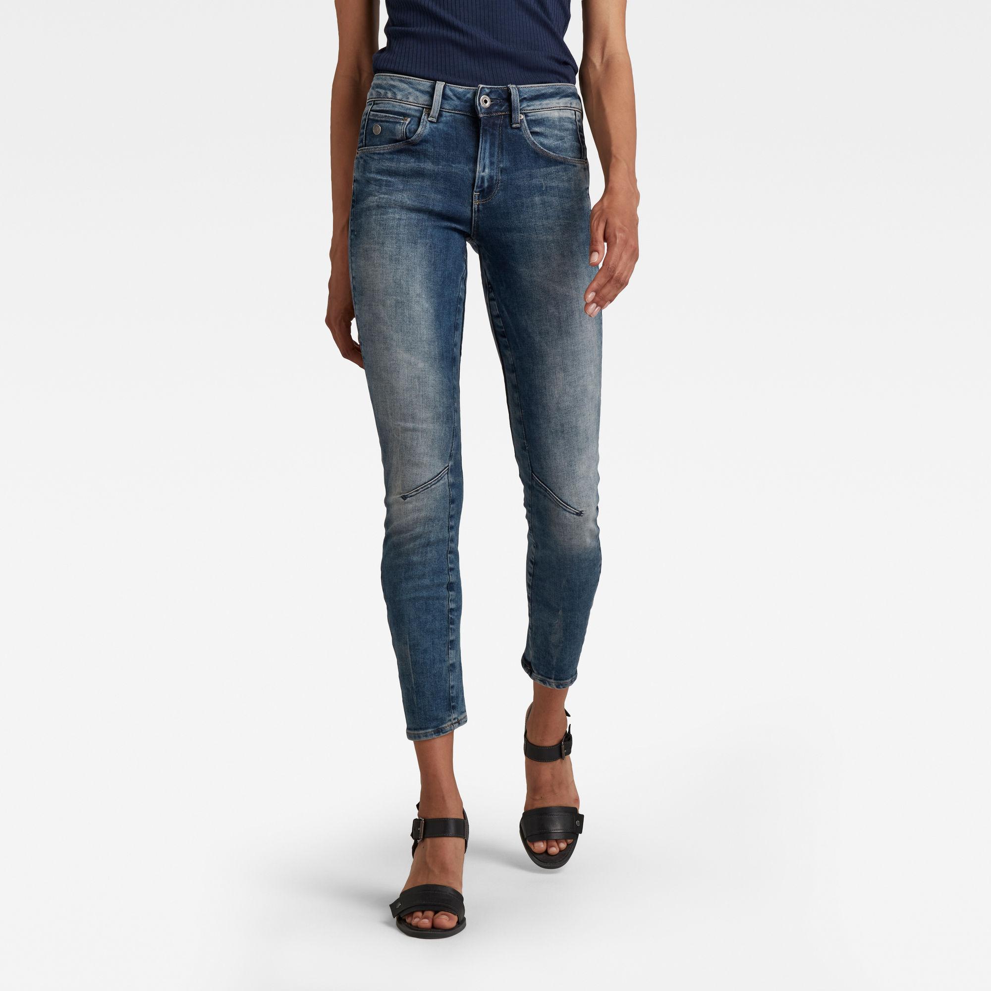 G-Star RAW Dames Arc 3D Mid Waist Skinny Jeans Blauw