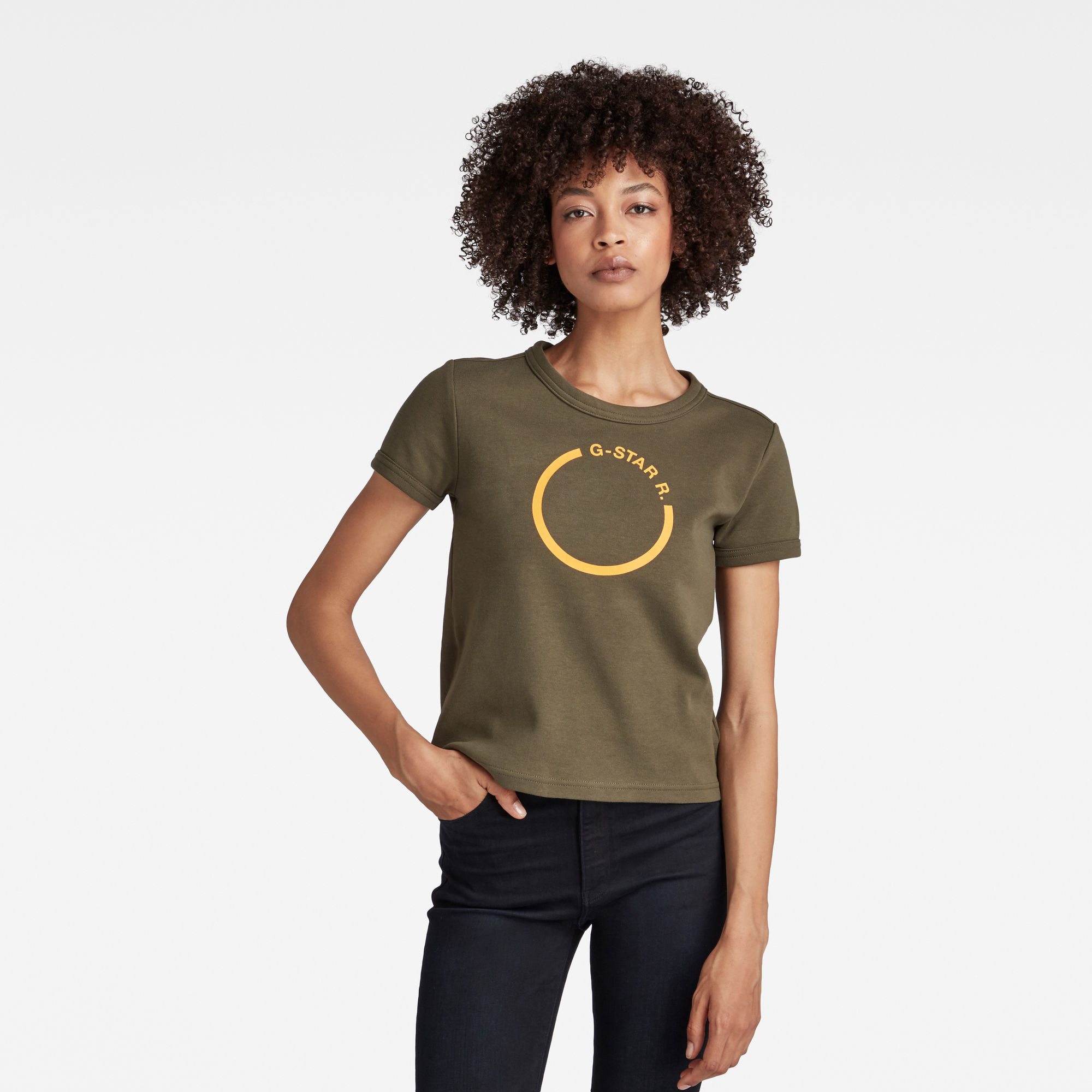 G-Star RAW Dames Cropped T-Shirt Front Logo Slim Groen