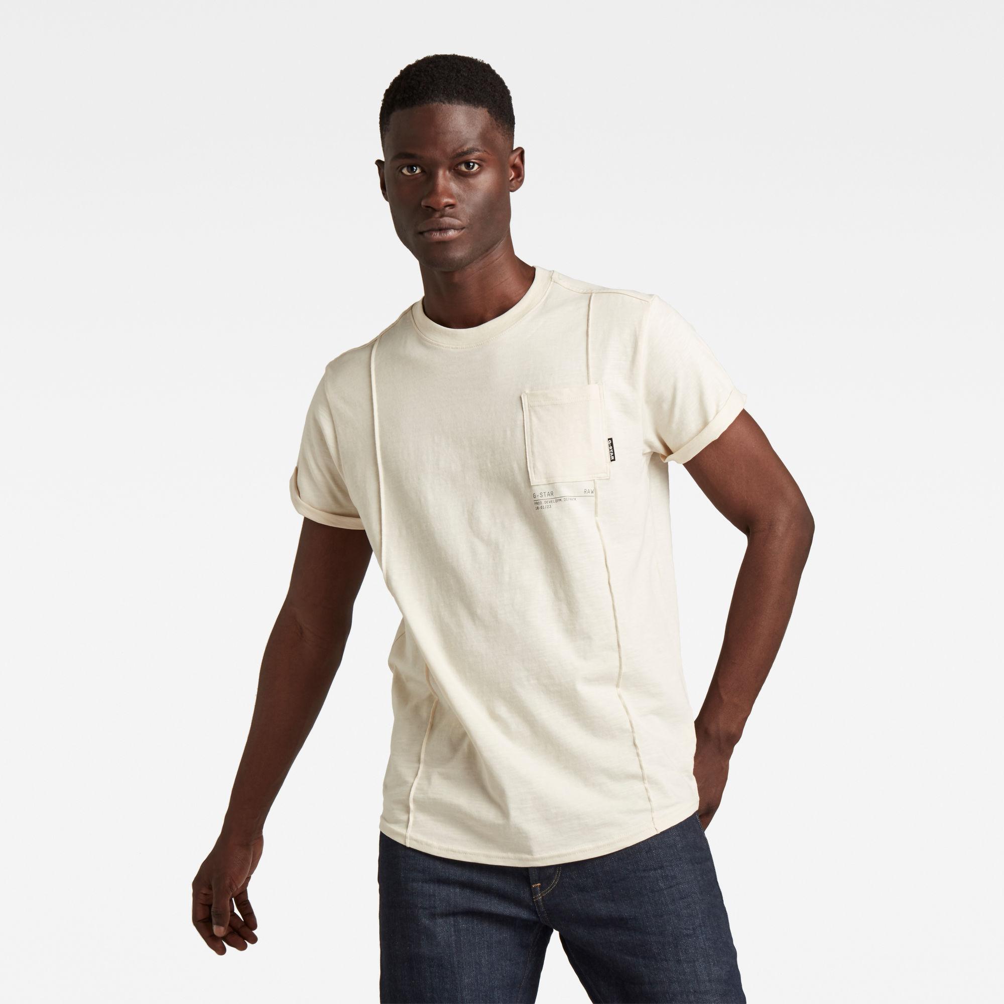 G-Star RAW Heren Lash Pocket Back Graphic T-Shirt Beige