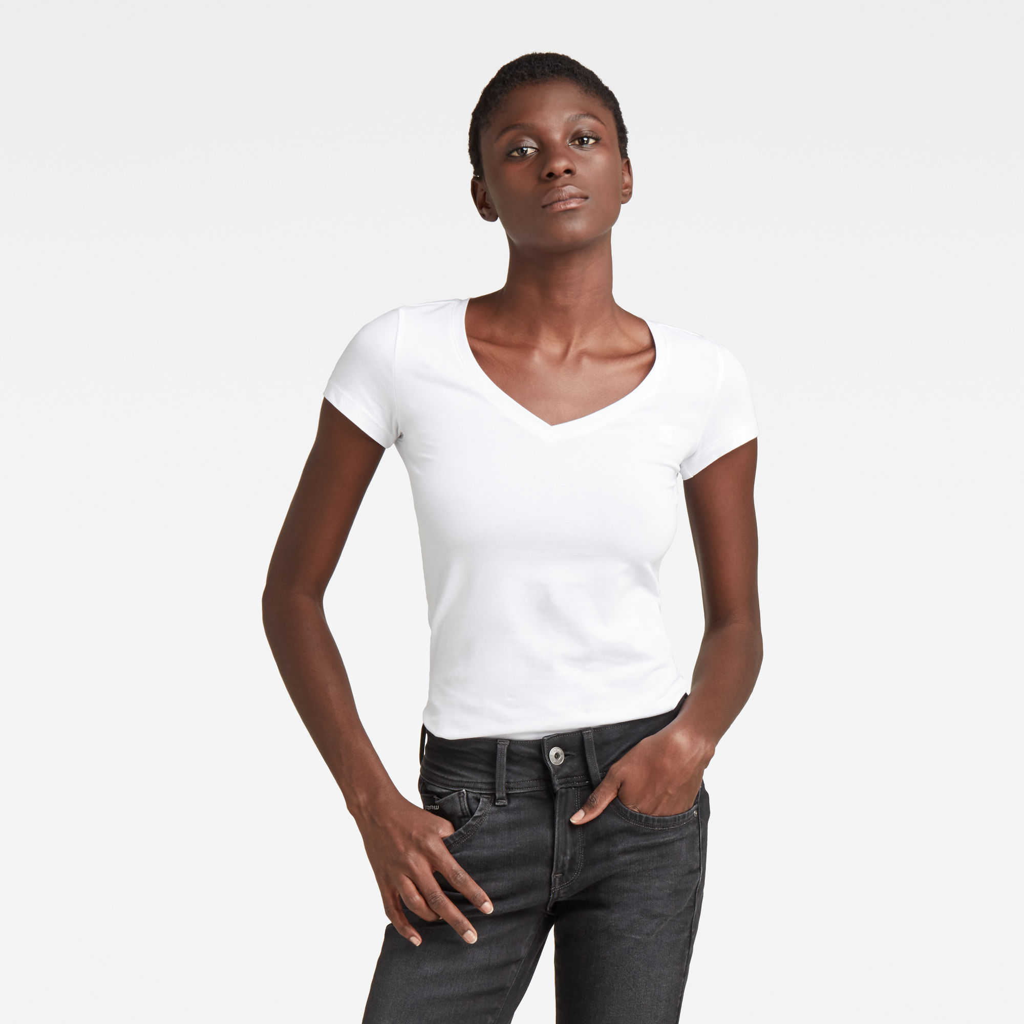 G-Star RAW Dames Basic V-Neck Cap Sleeve T-Shirt Wit