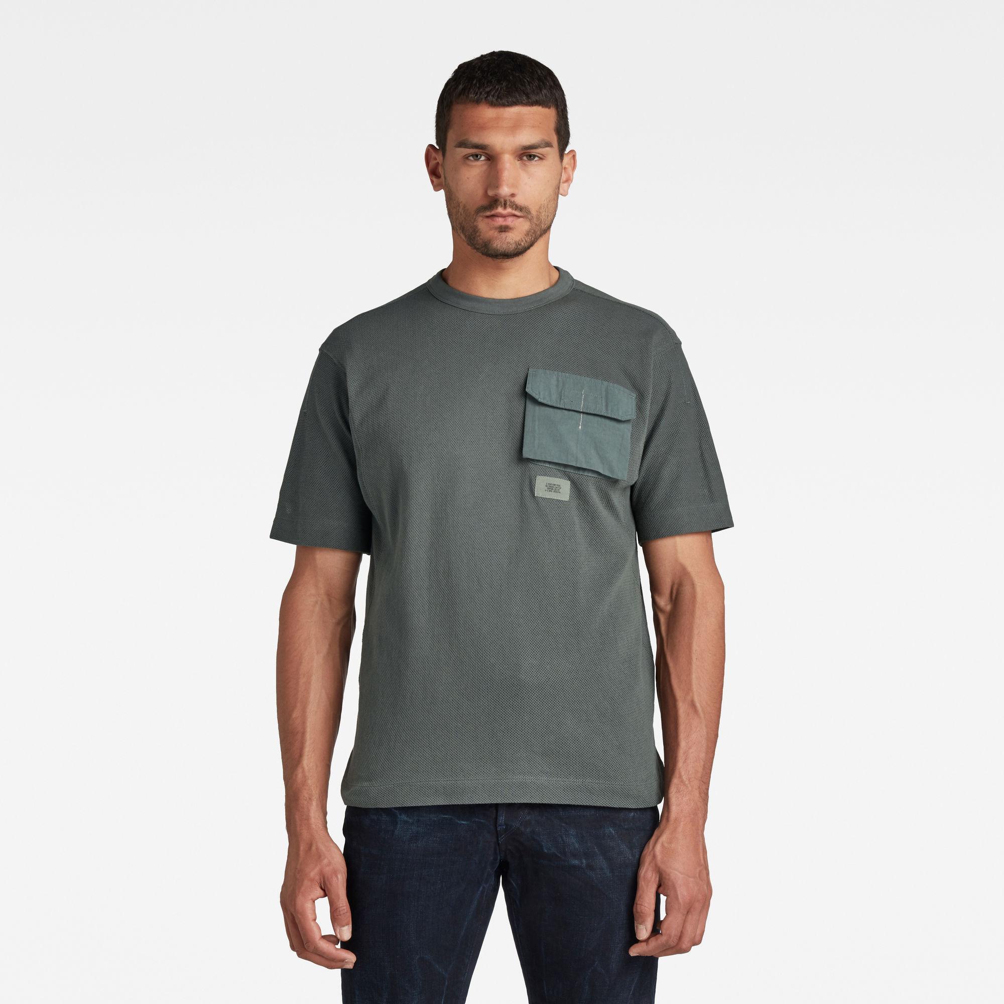 G-Star RAW Heren Mesh Pocket Loose T-Shirt Grijs