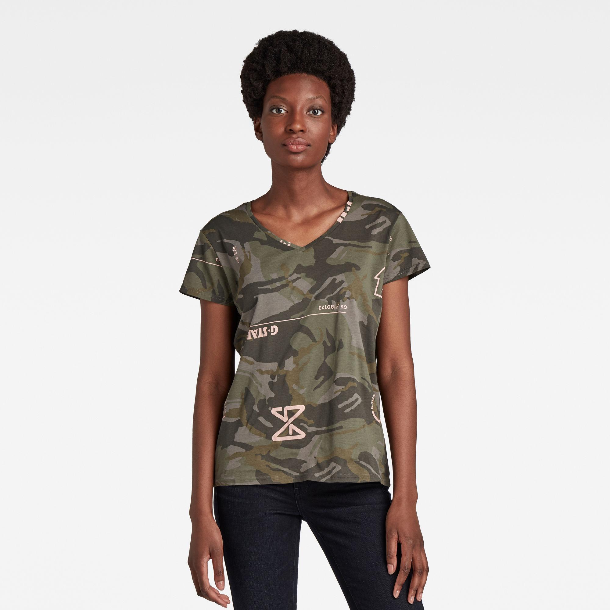 G-Star RAW Dames V-Hals T-Shirt Camo Type Print Meerkleurig