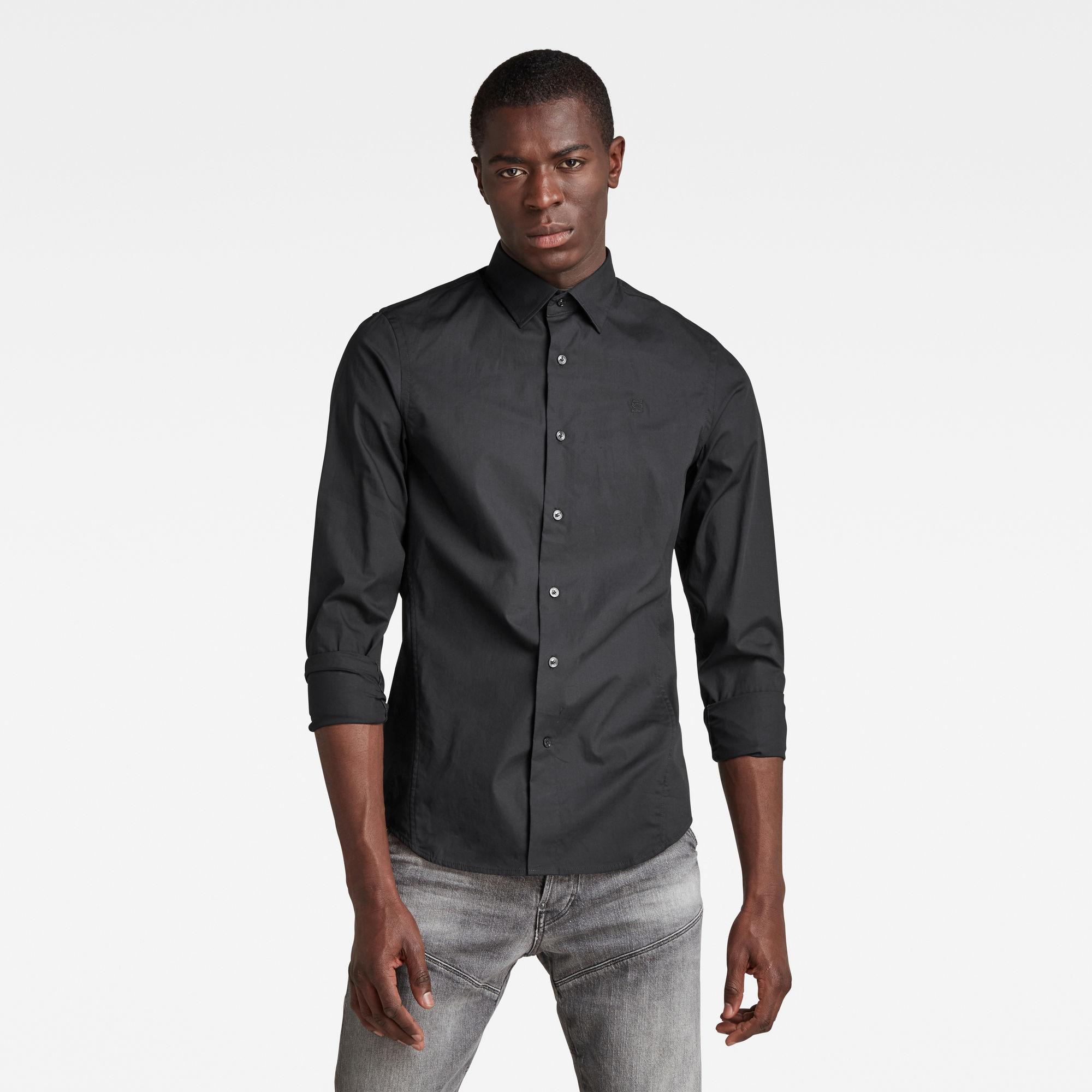 G-Star RAW Heren Dressed Super Slim Overhemd Zwart