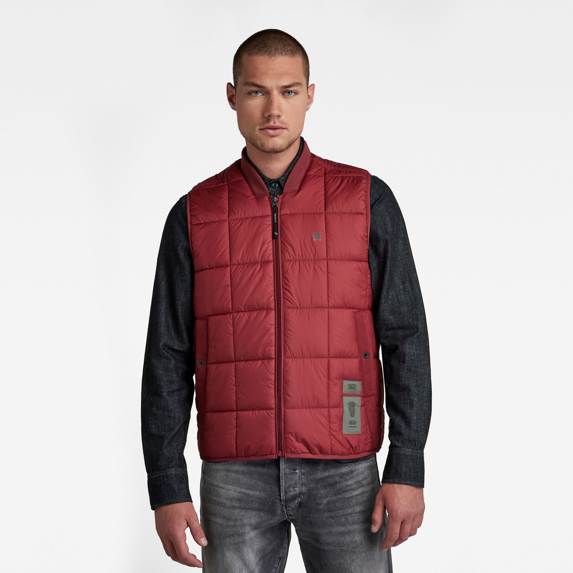 G-Star RAW Heren Bodywarmer Meefic Square Quilted Rood