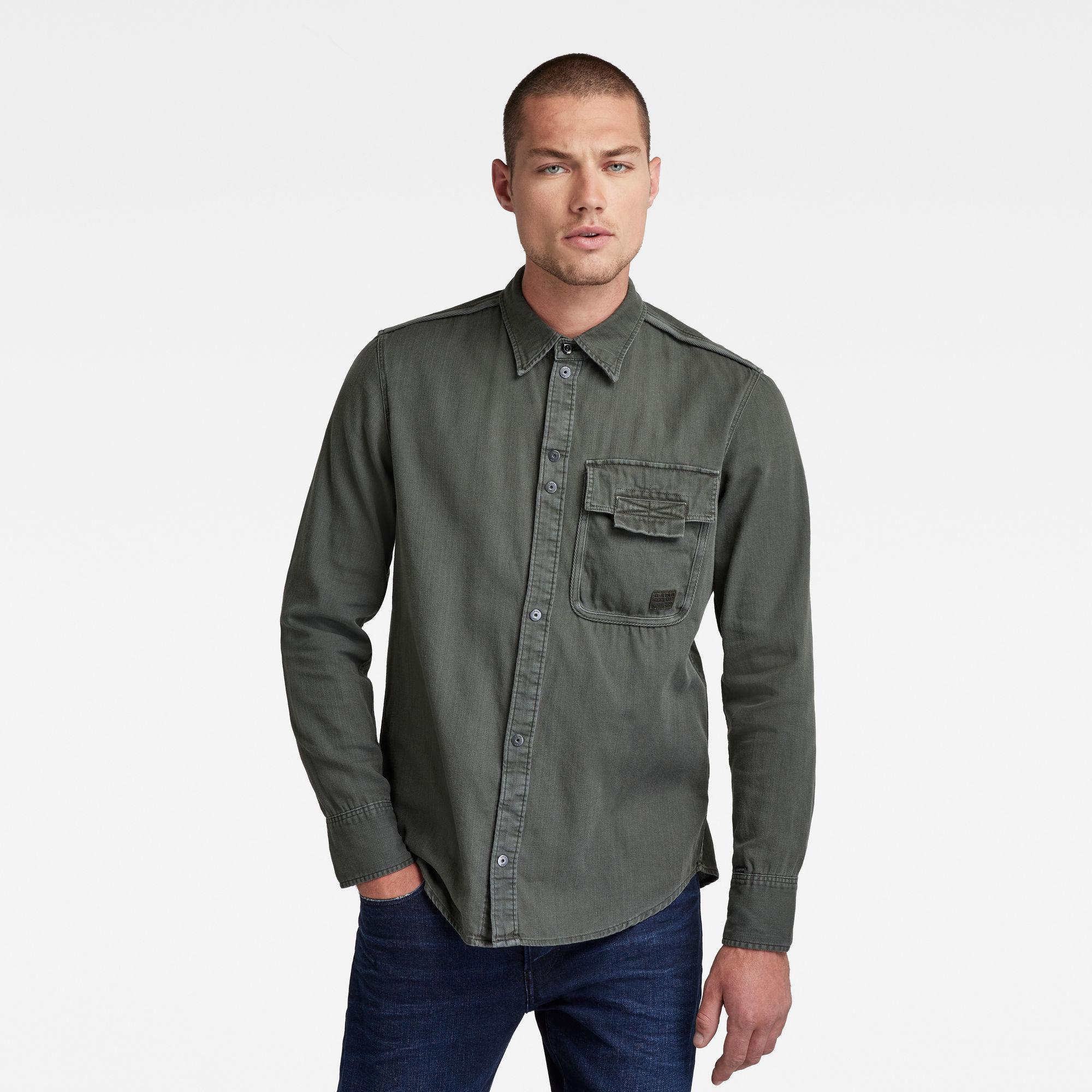 G-Star RAW Heren Bound Pocket Slim Shirt Grijs