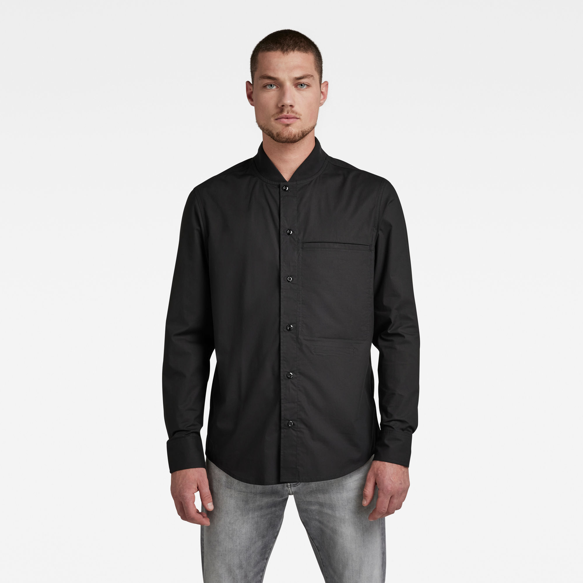G-Star RAW Heren Regular Shirt Bomber Collar Zwart