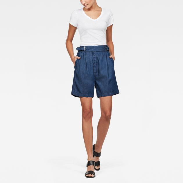 Pleated Shorts Bermuda Bristum Waist High e2DH9EIWYb