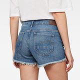 G-Star RAW® Arc Mid waist Ripped Shorts Medium blue front flat