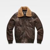 G-Star RAW® Bollard Leather Bomber Brown flat front
