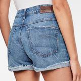 G-Star RAW® 3301 High Boyfriend Ripped Edge Shorts Medium blue front flat
