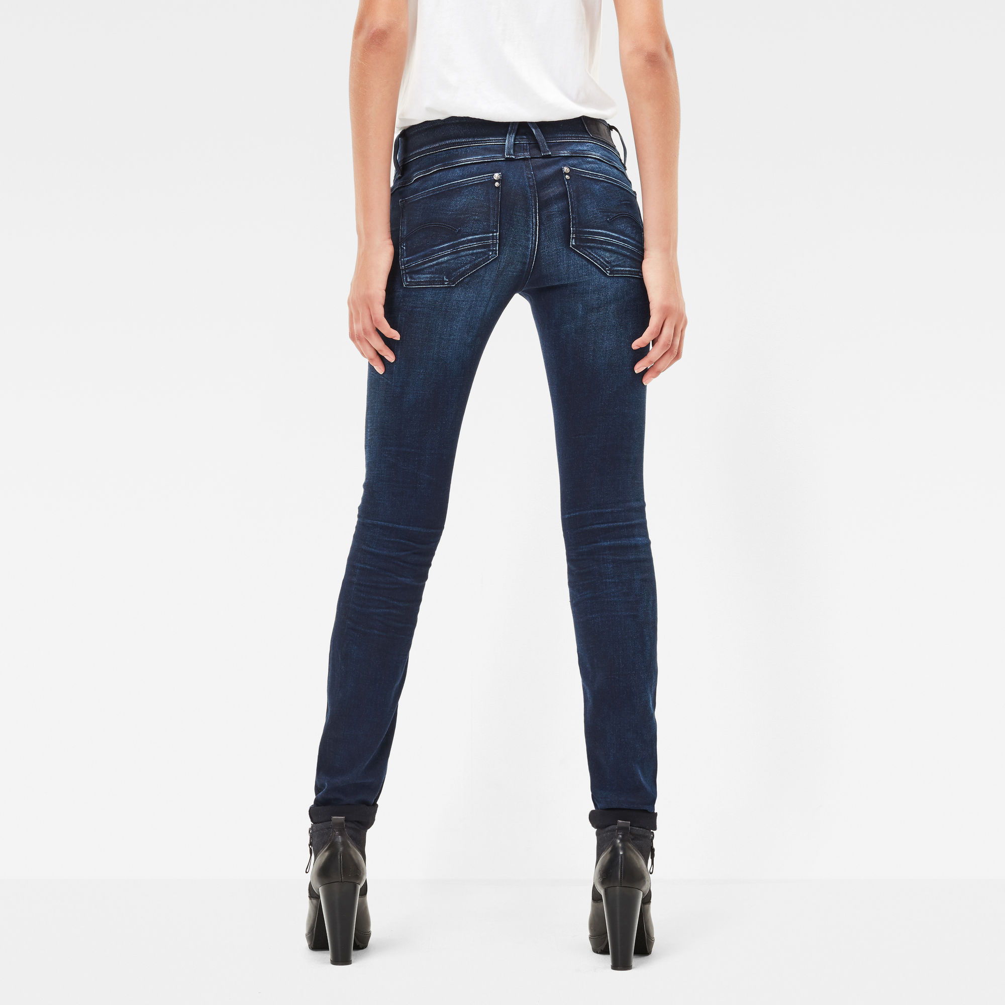 Lynn Zip Mid Waist Skinny Jeans