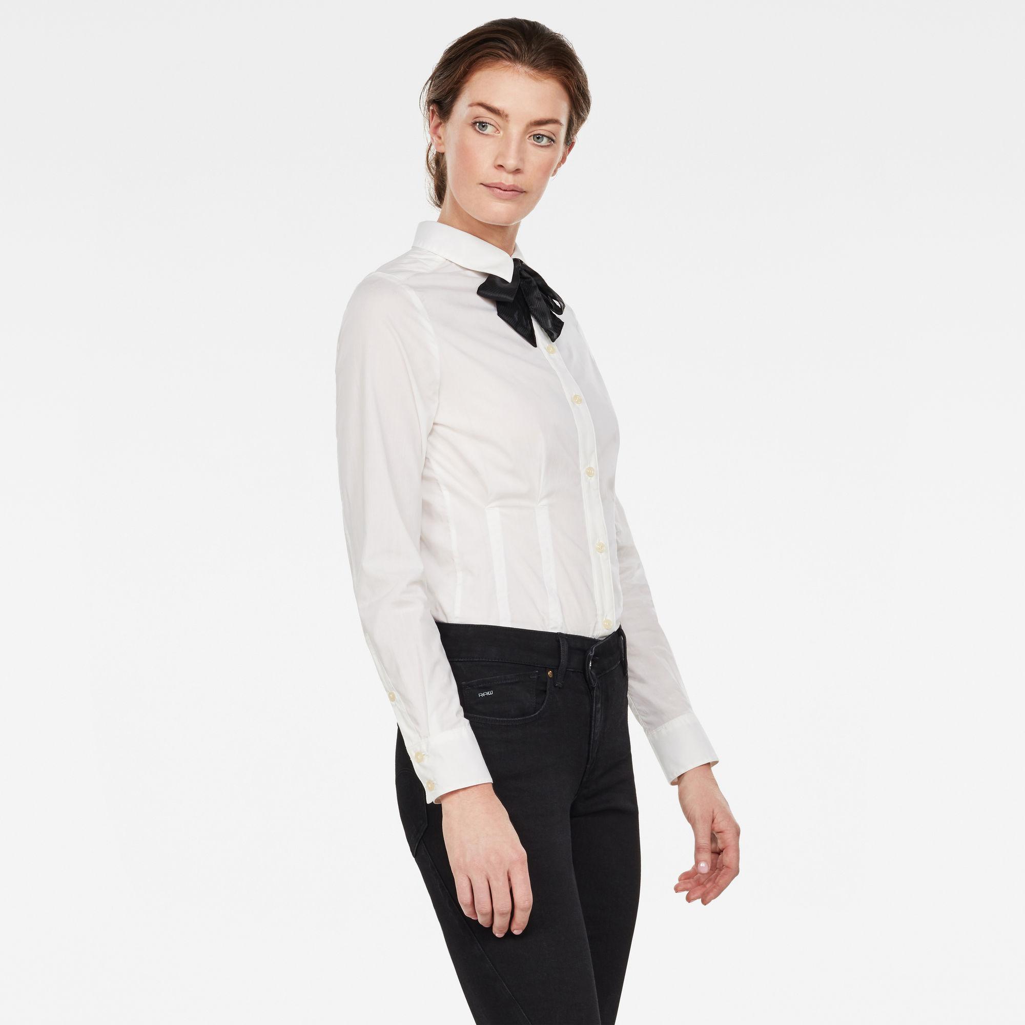 Syenite Slim Shirt Met Strik