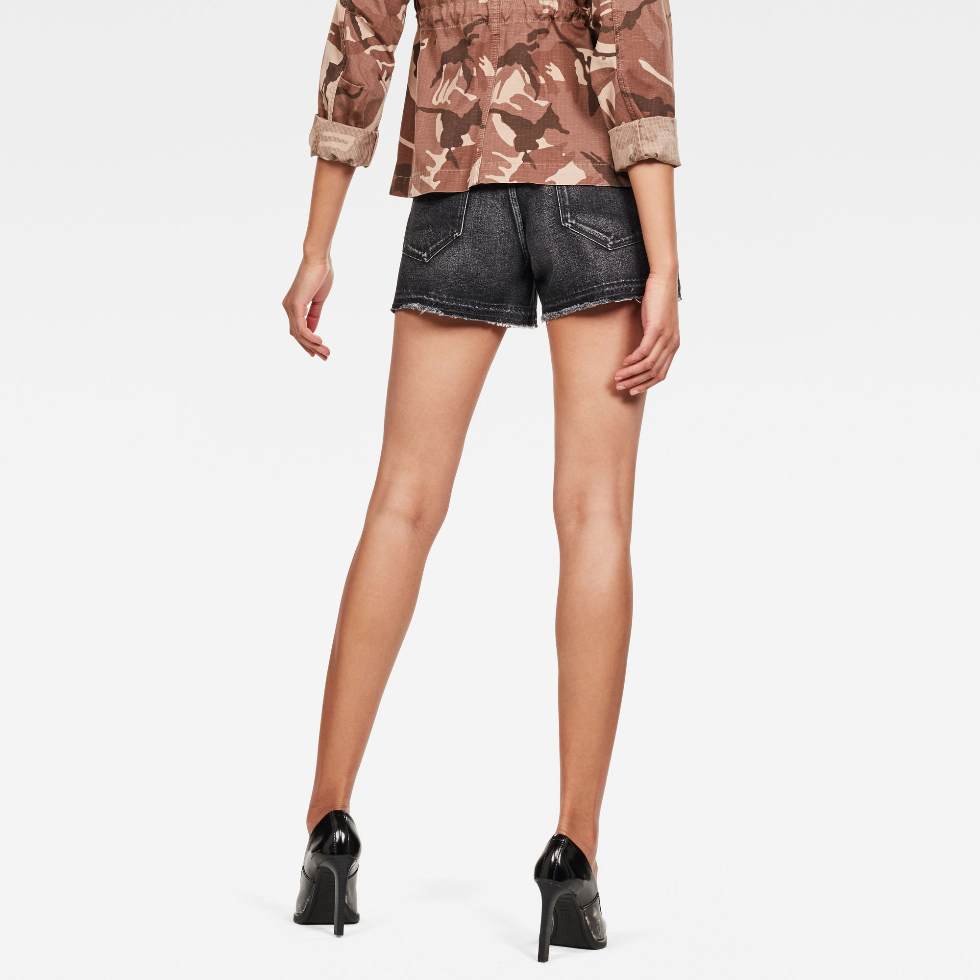 G STAR Bronson High Loose Pleat Berumuda Chino Shorts for Women Black