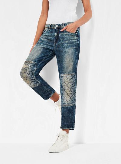 3301 Quilted Denim Mid Waist Boyfriend 7/8 Jeans