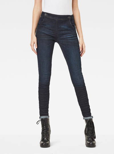 5622 Navy High Waist Skinny Jeans