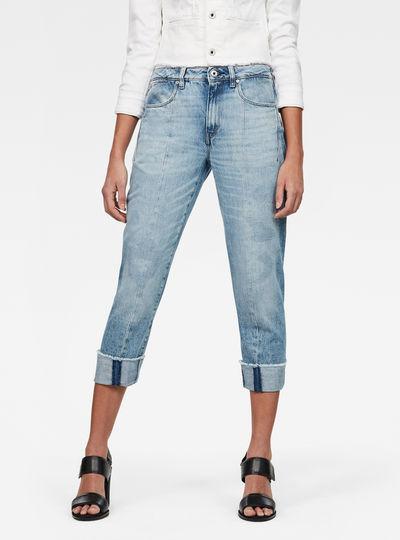 Lanc 3D High Waist waist Straight Ripped Jeans