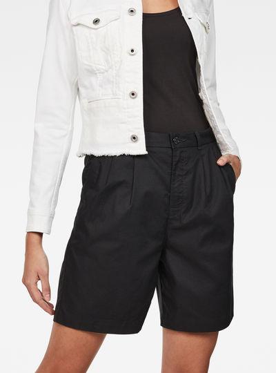 Bronson High waist Loose Pleated Bermuda Shorts