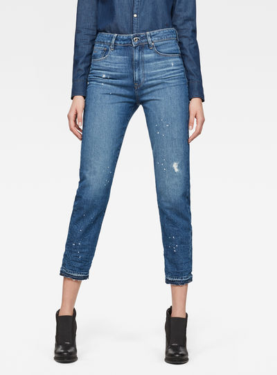 3301 Ultra High Straight Ripped 7/8-Length Jeans