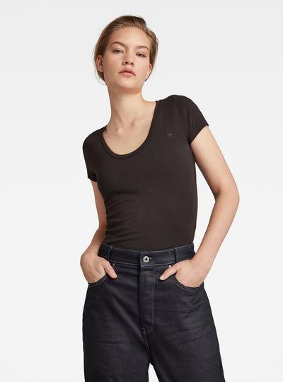 Basic Round Neck Cap Sleeve T-Shirt