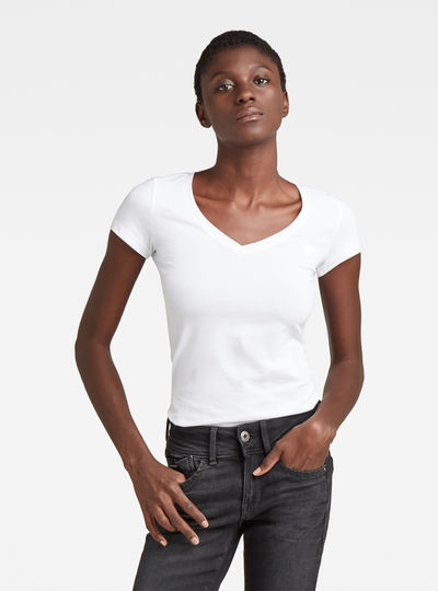 Basic V-Neck Cap Sleeve T-Shirt