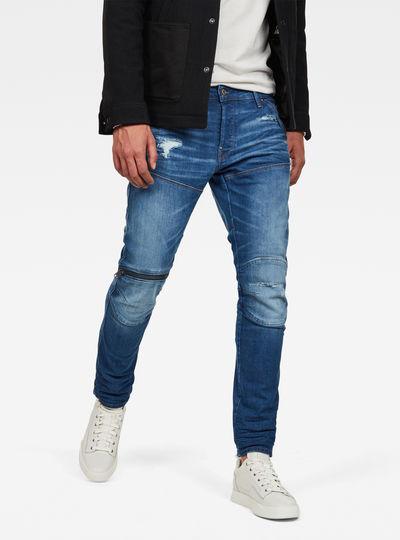 5620 3D Zip Knee Ripped Slim Jeans