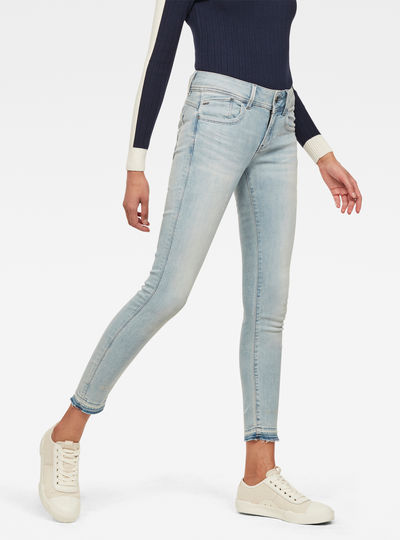 Lynn Mid Waist Skinny Ripped Ankle Jeans