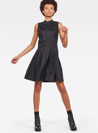 Pleated Sleeveless Shirt Dress