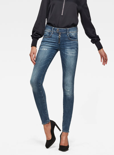 Lynn Zipper Mid Waist Skinny Jeans