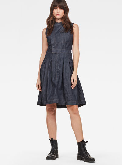 Pleated Sleeveless Shirt Dress